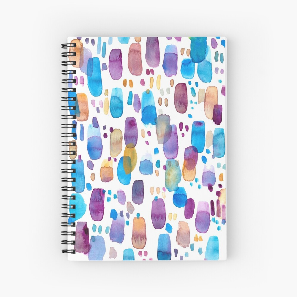 Watercolors blue and purple strokes Spiral Notebook