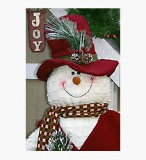 Red Hat Snowman Photographic Print