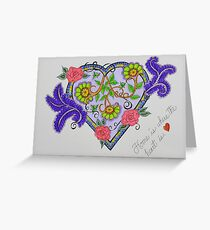 """Heart/5 - """"Home Is Where The Heart Is"""" Saying Greeting Card"""