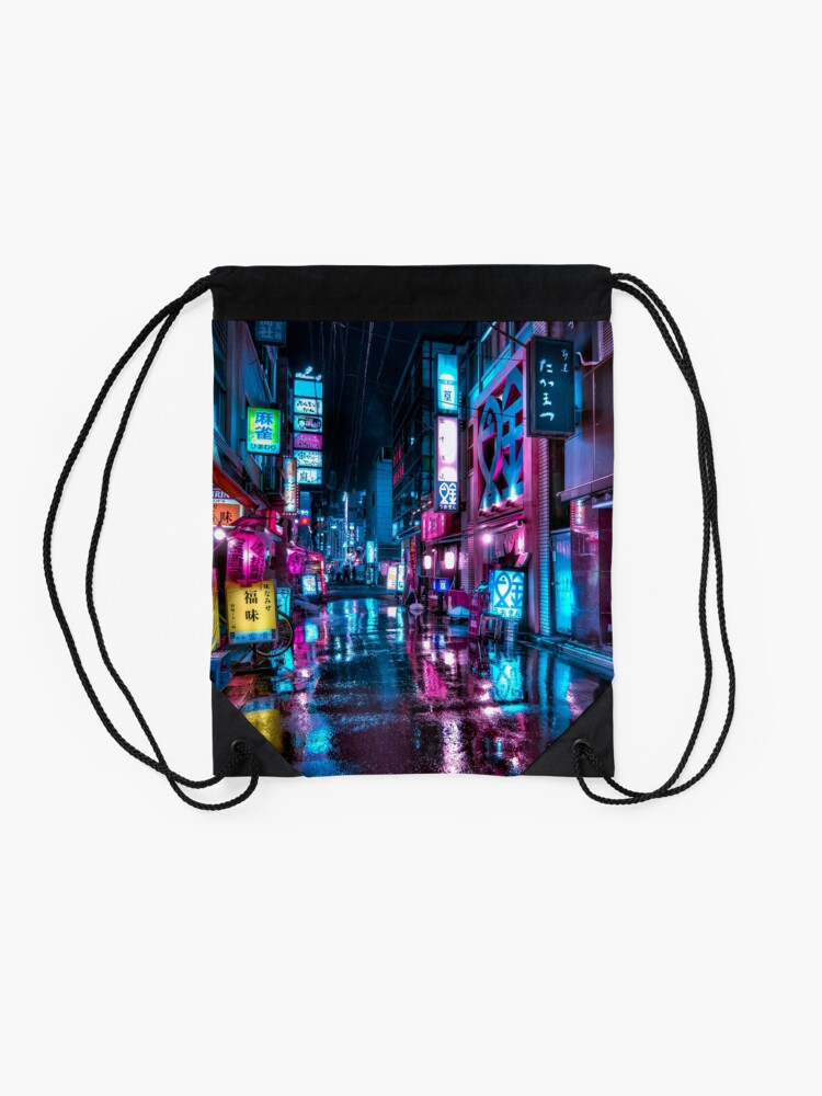 Alternate view of Tokyo at Night - Shimbashi Drawstring Bag
