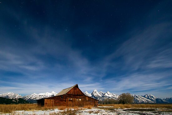 Full Moon Light & Stars Shining over Mormon Row by A.M. Ruttle