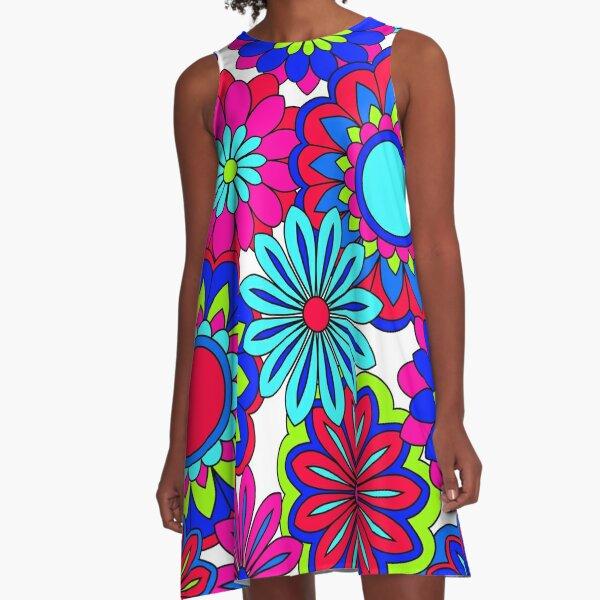 Hübsche Blütenblätter Flower Power Pattern A-Linien Kleid
