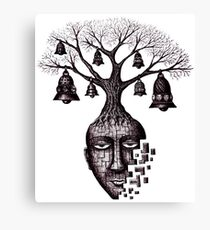 Inner World surreal black and white pen ink drawing Canvas Print
