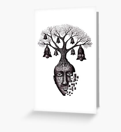 Inner World surreal black and white pen ink drawing Greeting Card
