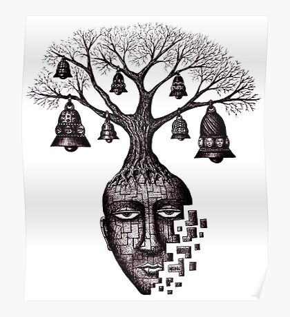 Inner World surreal black and white pen ink drawing Poster