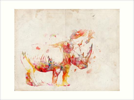 Watercolor Rhino by PatiDesigns