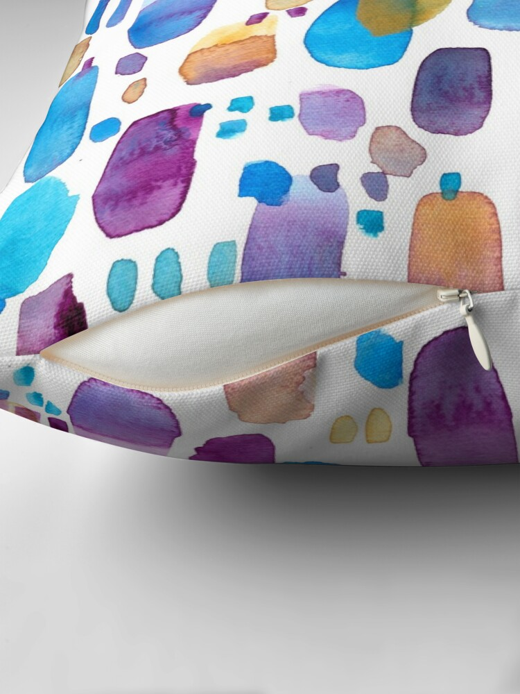 Alternate view of Watercolors blue and purple strokes Throw Pillow