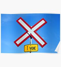 Railroad crossing sign. Poster