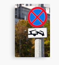 Tow away zone sign. Canvas Print