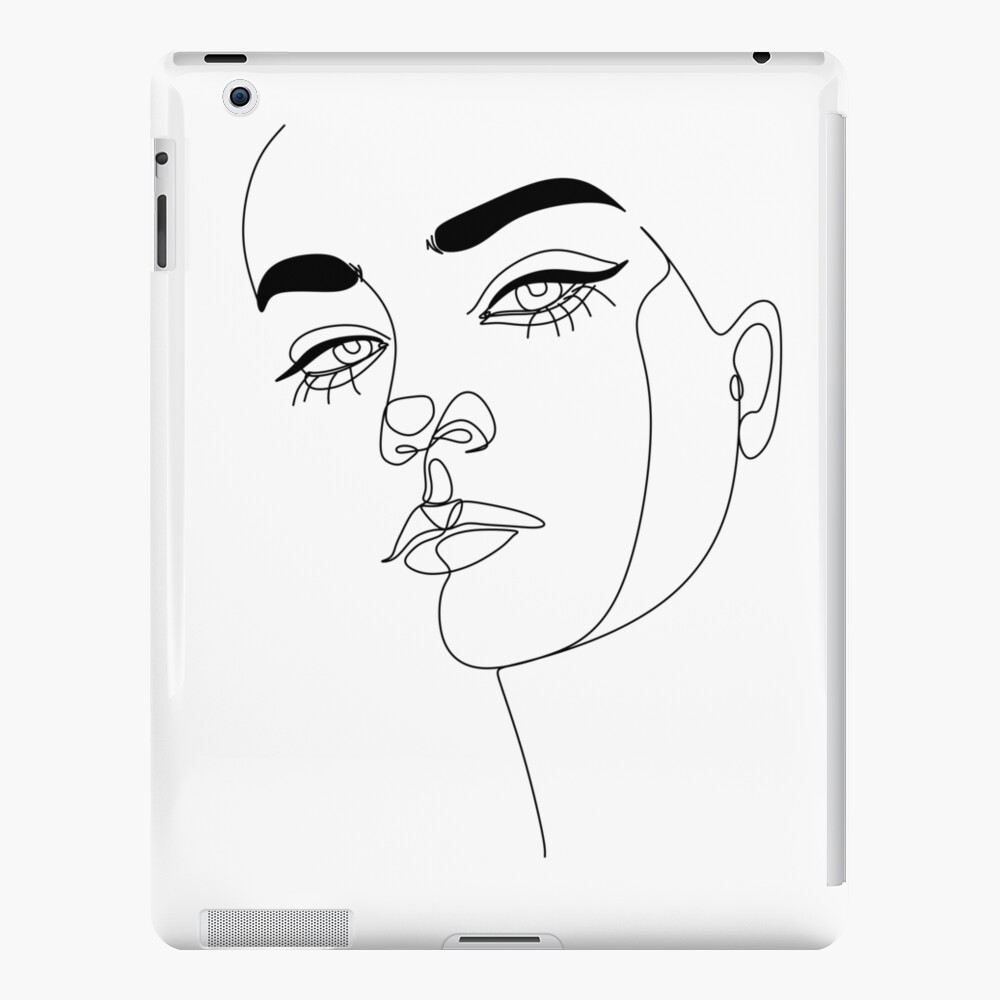 Abstact line art face. Line drawing woman face. Single Line Face Art   Minimalist Woman Line Drawing   Simple Art Female Face   Woman Drawing    iPad Case & Skin