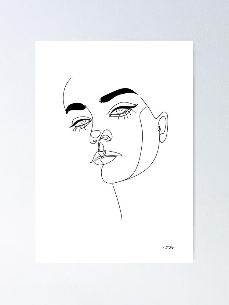 Woman Line Art Abstract Woman print One Line Drawing Printable line art Minimalist Line Art Poster Single Line Female Face Print