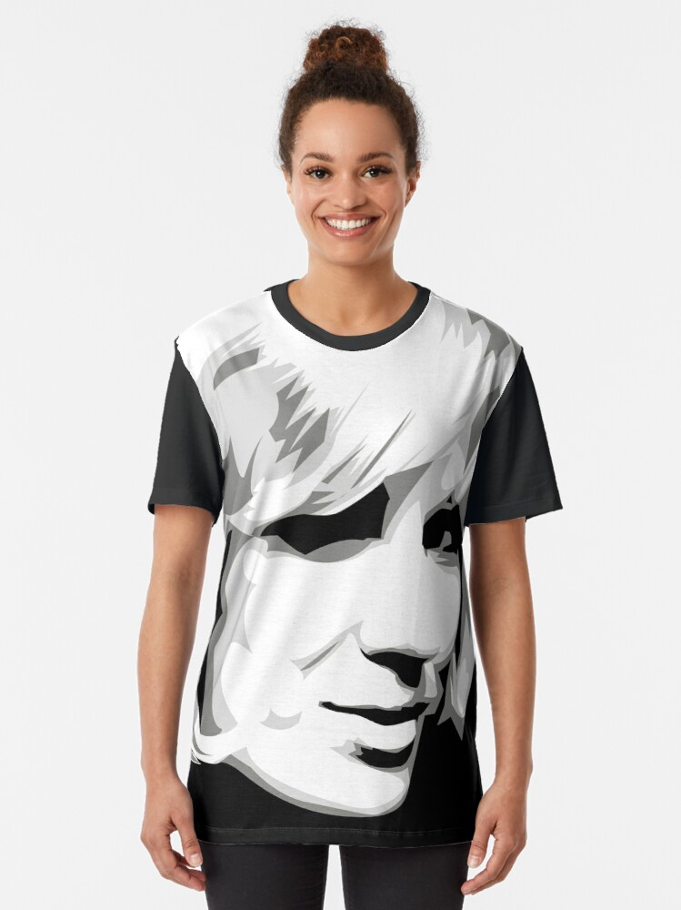 Alternate view of Dusty - Pop Icon Black and White portrait Graphic T-Shirt