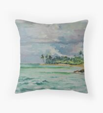 Coconuts Beach Samoa Throw Pillow