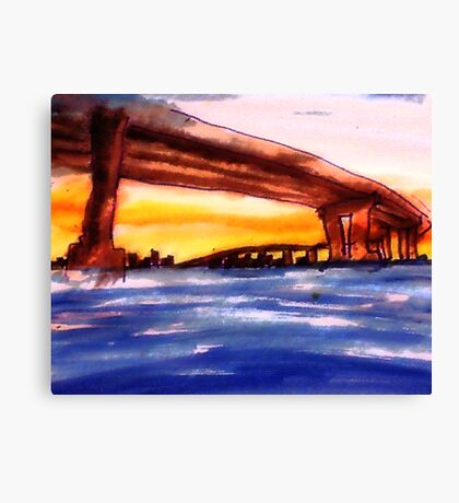 Corando Bridge in San  Diego #2, watercolor Canvas Print