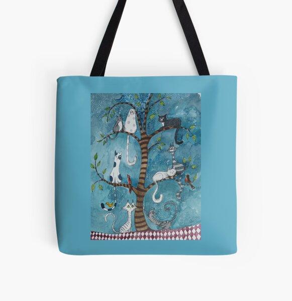 Katzen-Stammbaum Allover-Print Tote Bag