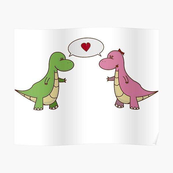 Decoracion Dinosaurios Enamorados Redbubble Los dinosaurios fueron animales que existieron hace aproximadamente 252 millones de años, de la familia de los saurópsidos donde se encuentra. redbubble