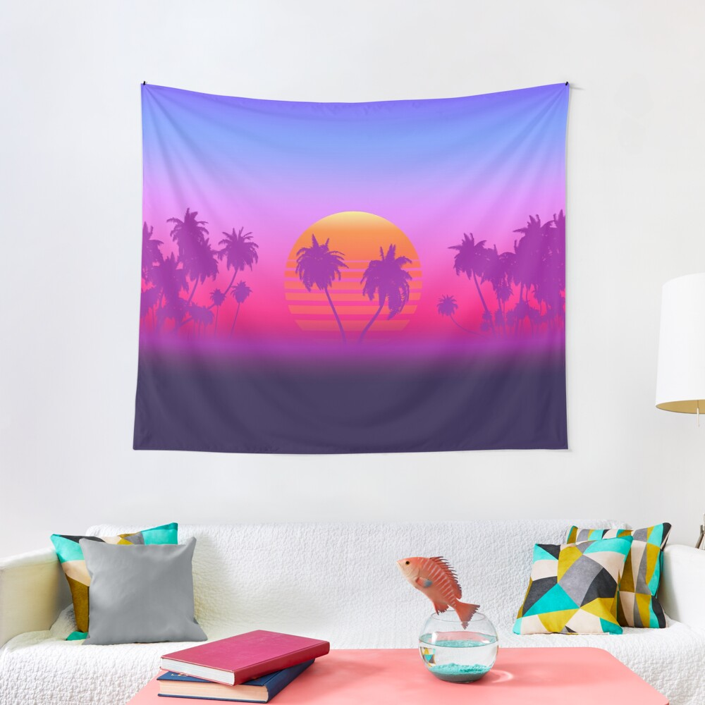 Palm Trees Sunset Tapestry