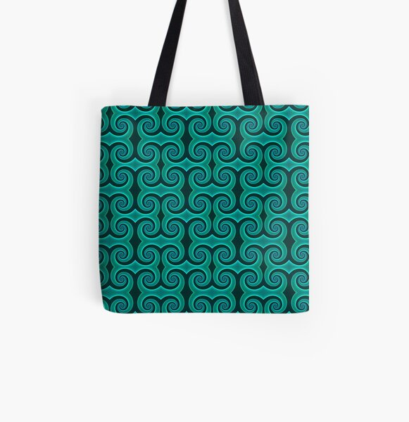 Teal Swirl Pattern All Over Print Tote Bag