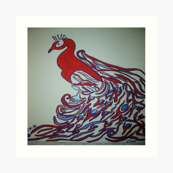 Peacock Art in Red and Blue Art Print