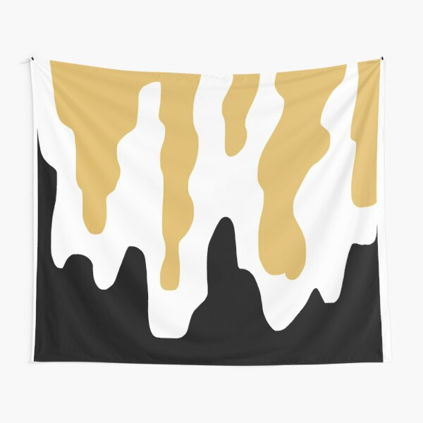 Abstract Simple Gold Black and White Melty trippy beautiful modern contemporary art work background art design piece Tapestry