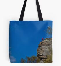 Touching the Void - Climber on Curbar Edge, Derbyshire Tote Bag