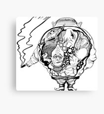 Leader surreal black and white pen ink drawing Canvas Print