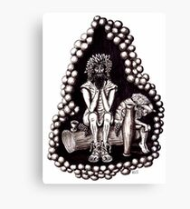 Bacchus God of Wine black and white pen ink drawing Canvas Print