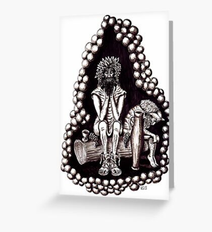 Bacchus God of Wine black and white pen ink drawing Greeting Card