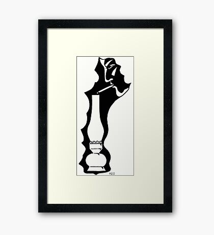Midnight Cigarette black and white pen ink drawing Framed Print