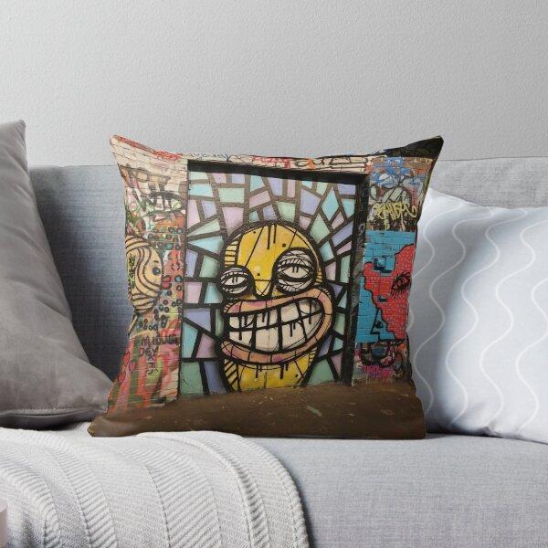 Graffiti Alley Artwork - Smile Throw Pillow
