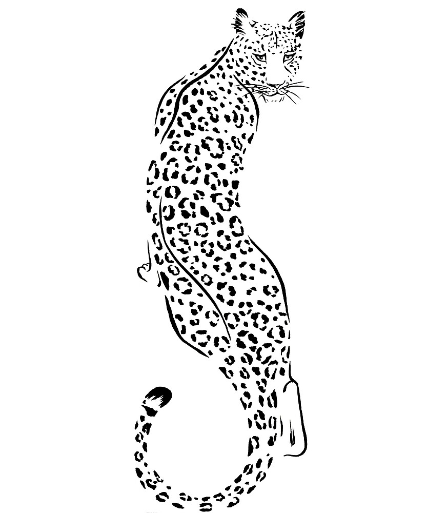 Beautiful Cool Leopard Black and White Wildlife Design by Monica C. Webster