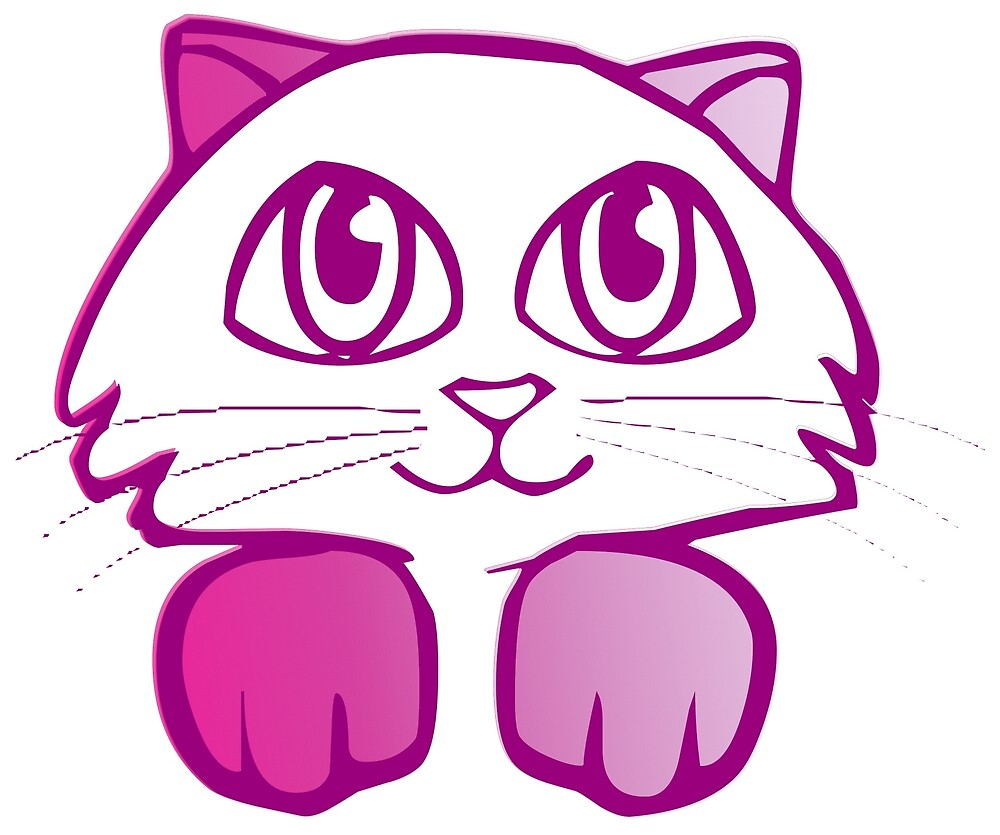 Cute pink cat by mosfunky