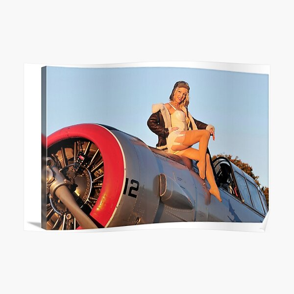 Pin up Girl Airplane Poster