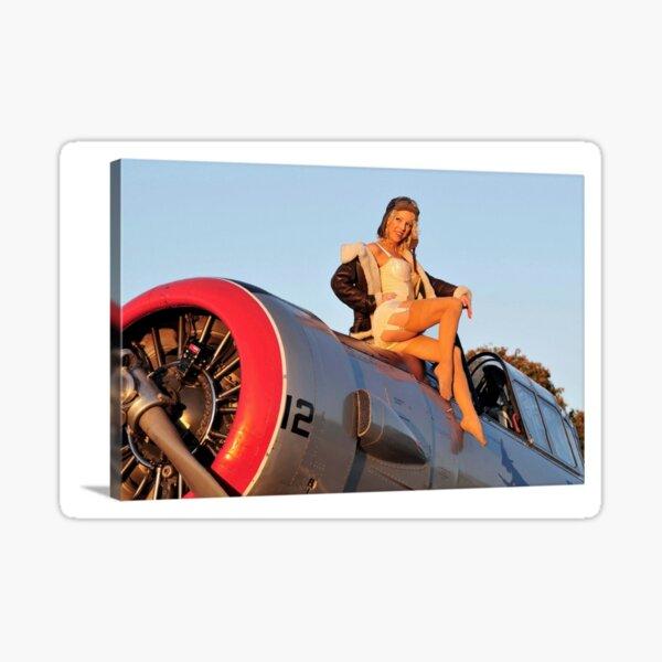 Pin up Girl Airplane Sticker