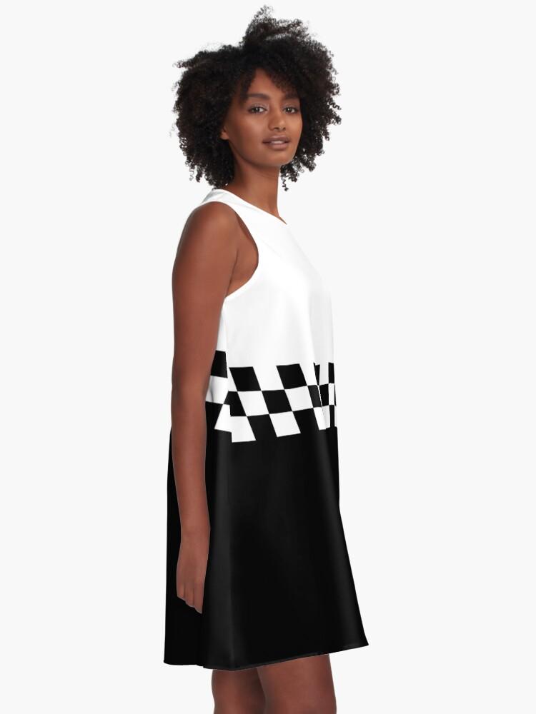 Alternate view of Two Tone Mod Ska 60s Retro Black & White  A-Line Dress