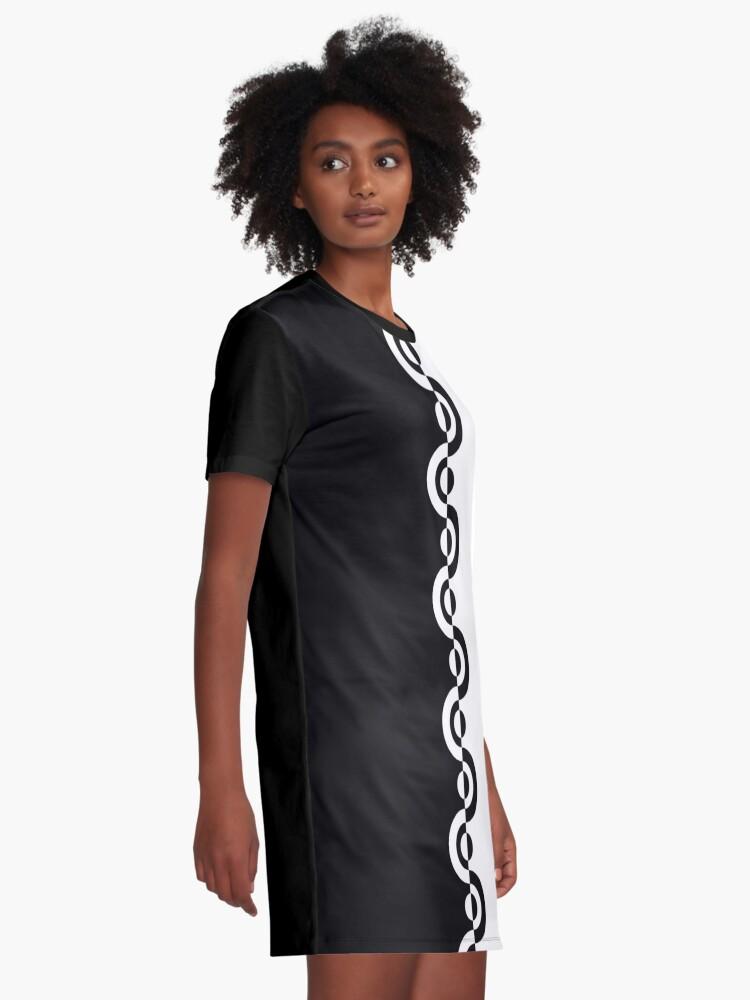 Alternate view of Black & White 60's Two Tone Mod Ska Pattern Graphic T-Shirt Dress
