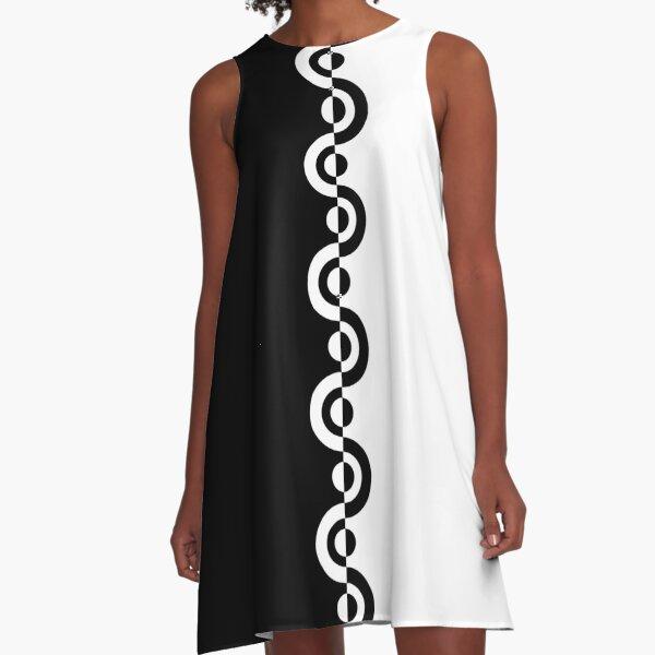 Black & White 60's Two Tone Mod Ska Pattern A-Line Dress