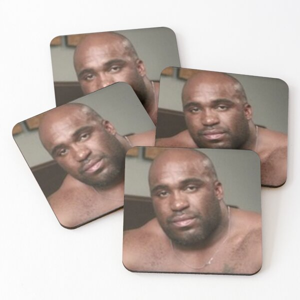 Large Black Man Bear Barry Wood from Emergency Text Message Joke Coasters (Set of 4)