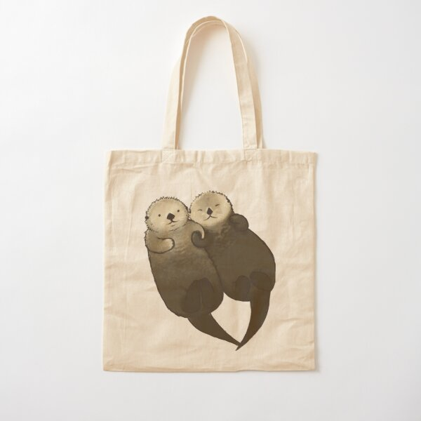 Significant Otters - Otters Holding Hands Cotton Tote Bag