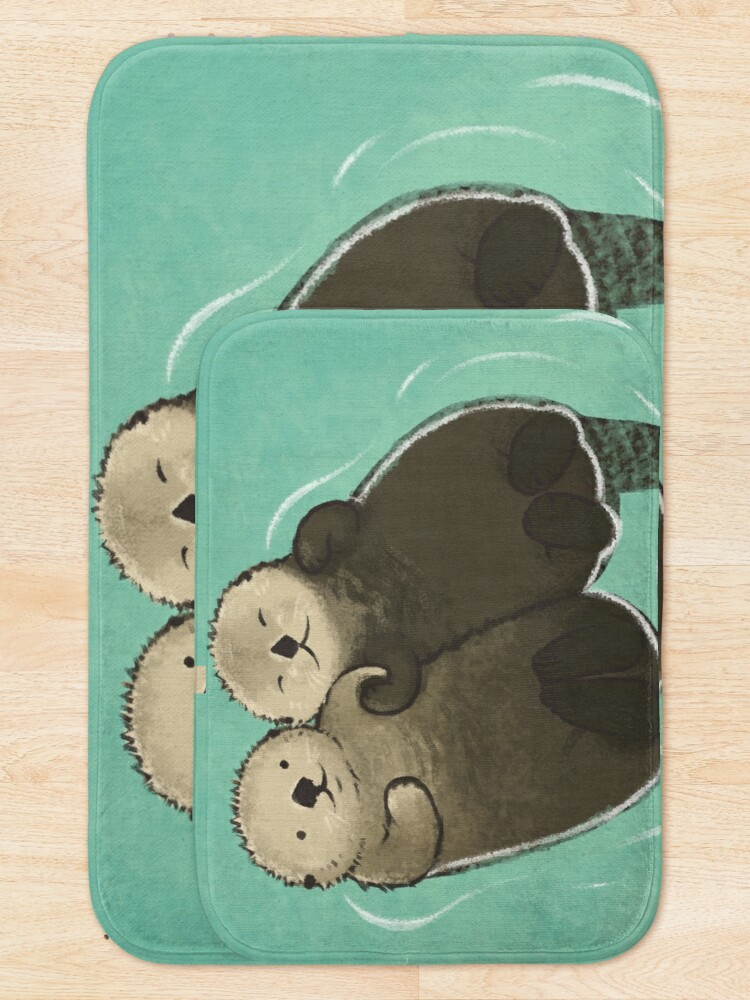 Alternate view of Significant Otters - Otters Holding Hands Bath Mat