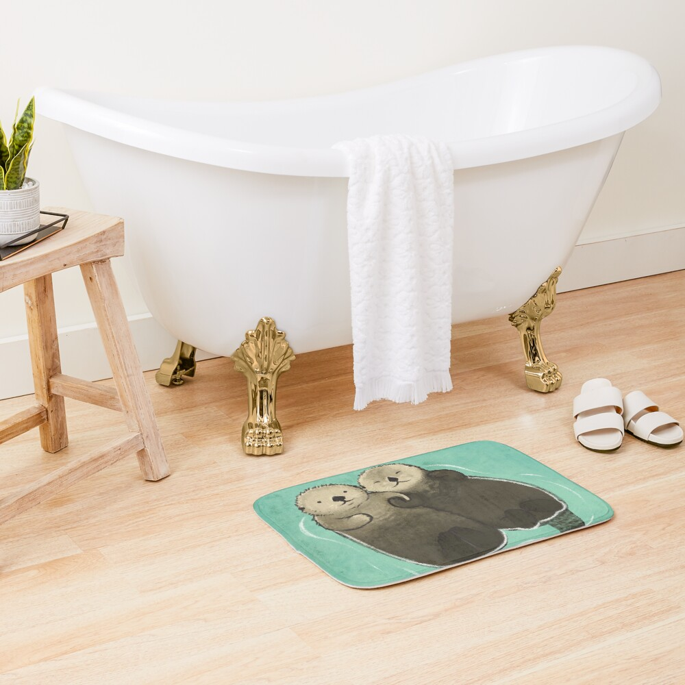 Significant Otters - Otters Holding Hands Bath Mat