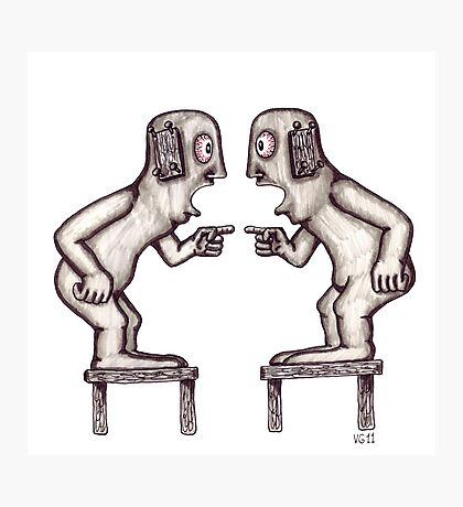 Argument surreal black and white pen ink drawing Photographic Print