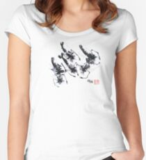 Sumi-e Shrimps represent Abundance! Women's Fitted Scoop T-Shirt