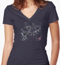 Sumi-e Shrimps represent Abundance! Women's Fitted V-Neck T-Shirt