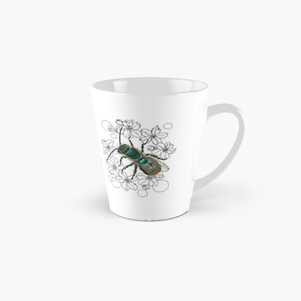 Blue, Orchard, Mason Bee Doodle, white Tall Mug