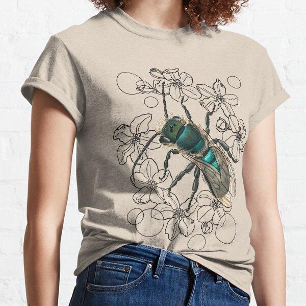 Blue, Orchard, Mason Bee Doodle, white Classic T-Shirt