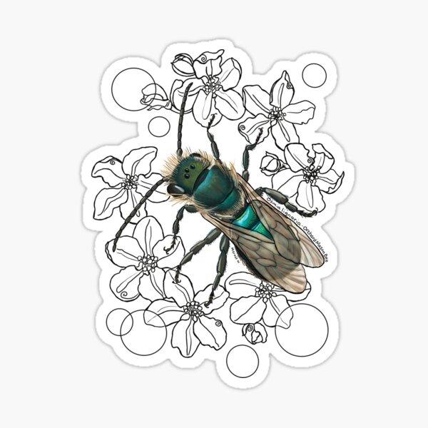 Blue, Orchard, Mason Bee Doodle, white Sticker