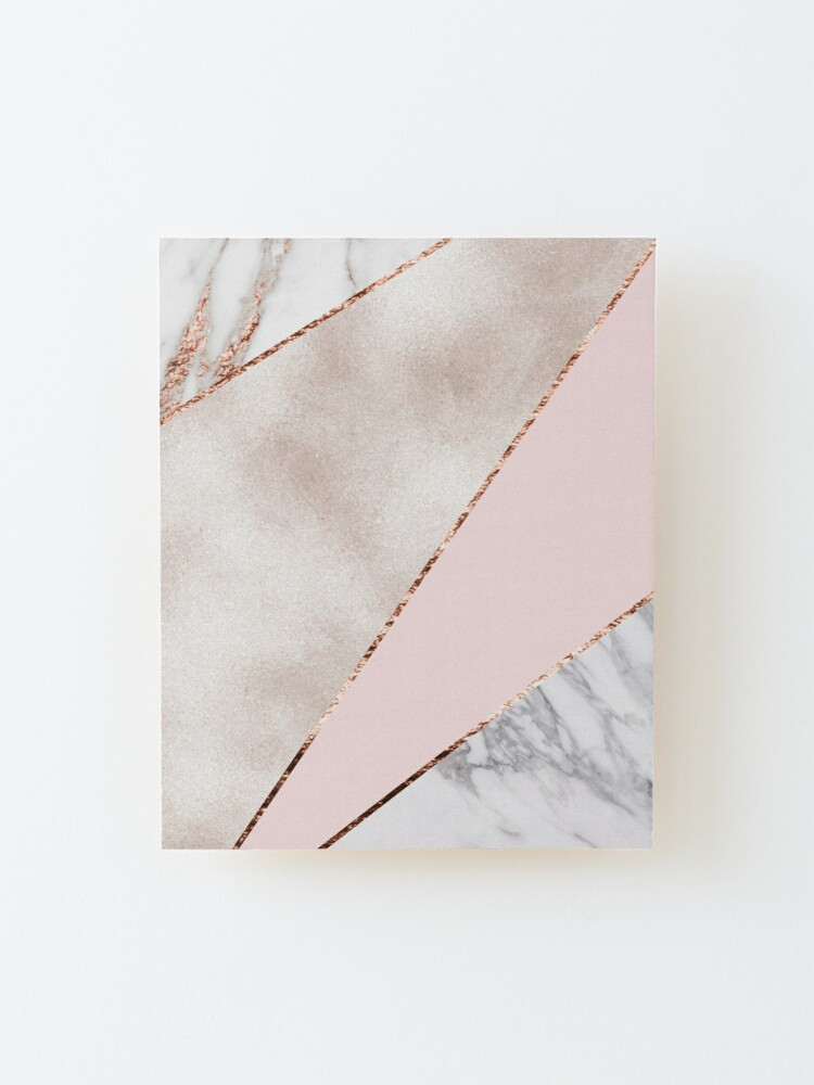 Alternate view of Spliced mixed rose gold marble Mounted Print