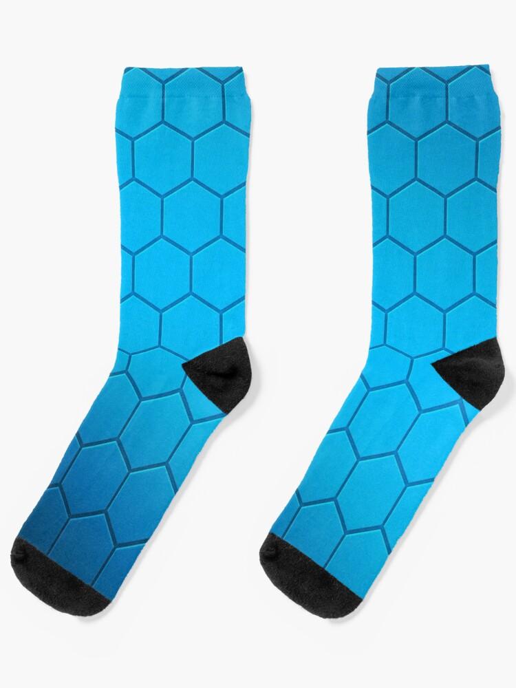 Teal Blue and Gray Honey Comb Pattern Crew Dress Socks