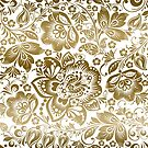 Beautiful gold tones floral pattern over white background. by artonwear